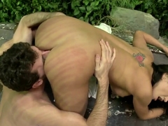 Claudia Valentine gives deep throat to James Deen