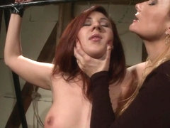 Katy Borman torture the hot babe tied the arms
