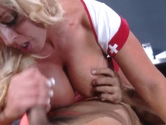 Beautiful nurse Alura Jenson is treating her patient