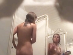 Nude showering girls talking and laughing on spycam