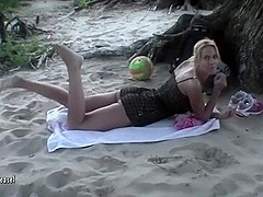 German Blond Mother I'd Like To Fuck relaxed semi-bare on the beach when a stra...