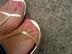 Gold sandals & Nylons pedal pumping