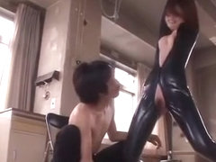 Fabulous Japanese chick Ai Haneda in Amazing Latex, Amateur JAV clip