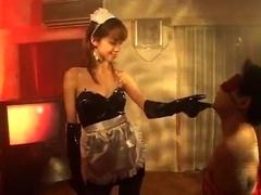 Japanese maid handjob with gloves uncensored