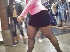 pantyhose mall girl teasing