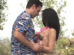 Tempting 18yo Mia Austin receives hard outdoor dicking