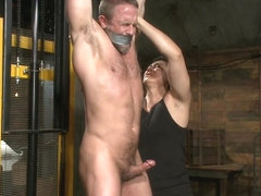 Muscled hunk taken and edged against his will