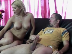 Hot, busty blonde Kodi Gamble blows him and gets her bald twat hammered