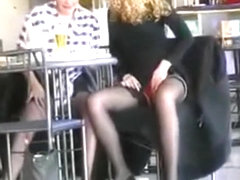 Pussy rubbing on cafe