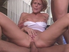 Blonde woman fucked hard in 3 holes by two cocks