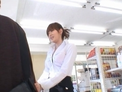 Yuma Asami Hot Asian doll has sex in a shop