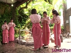 Femdom japanese babes groupfuck dude in bathhouse