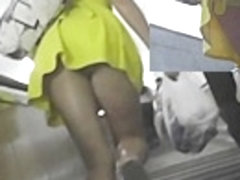 Super hot yellow summer costume upskirt