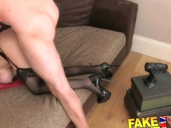 FakeAgentUK: Cute redhead gets a face full of cum on the casting couch