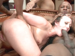 Waspy Bitch Takes 5 Huge Black Cocks - HardcoreGangbang