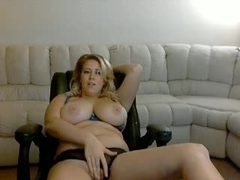 Beautiful busty blonde gets several orgasm