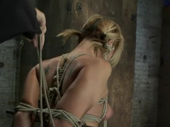 Category 5 Suspension, Made to Suck Cock and CumAll Tying on Screen, Amazing live rope bondage!
