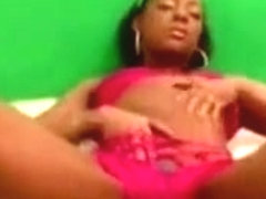Lonely ebony girlfriend plays with her sweet pussy in solo