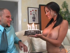 Busty birthday boss babe gets cock