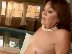 Nasty old slut Marsha seduced some young freaky guy to have a fuck with her, she sucked his dick a.