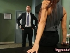 Huge boobs pornstar Madison Ivy pounded in the office