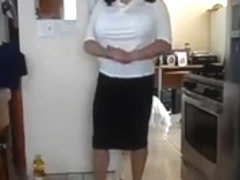 Transgender white front design blouse black tight skirt
