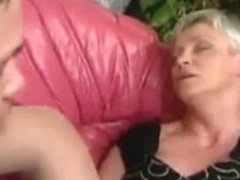 Hairy granny in stockings slammed very hard