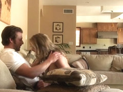 Cheating Blonde Caught Getting Oral On Spy Cam In Livingroom