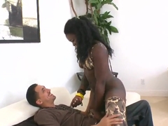 Black babe doing naughty things with white cocks
