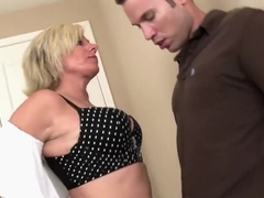 Buxom MILF Payton Hall blows him and gets her bald twat banged