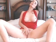 Busty Brunette In Red Top Reaches Orgasm