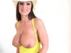 Famous whore Lisa Ann teases two turned on studs