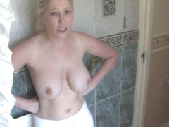 Lovely blonde shows tits in topless down blouse clip