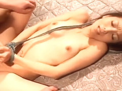 Auburn haired Japanese girlie tied up and rammed hard