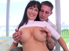 Black haired milf Angie Noir pleasures young stud